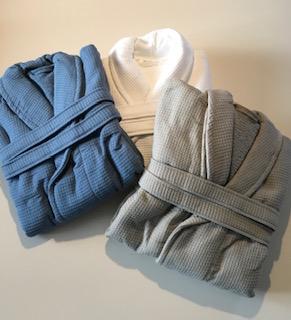 Badjassen wafel in kleuren taupe - wit - denim