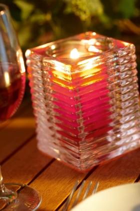 Glazen houder ribbel brandend